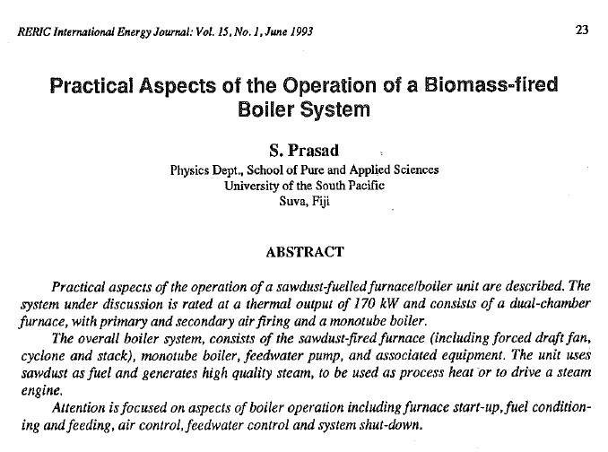 Practical Aspects of the Operation of a Biomass-Fired Boiler System ...